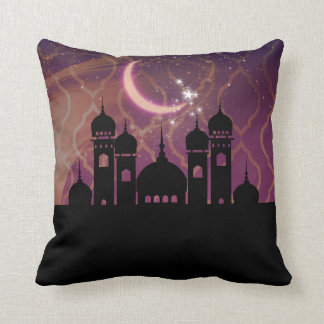 Arabian Nights Moroccan Middle Eastern Purple Pink Throw Pillow