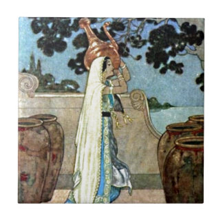 Arabian Nights Woman at the Well Illustration Tile