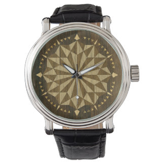 Arabic Geometric Pattern Wooden Effect Watch