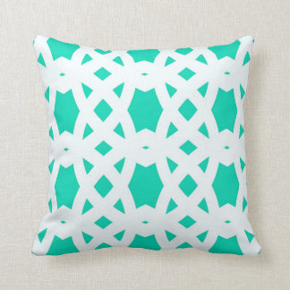 Arabic Lattice in Aqua Throw Pillow