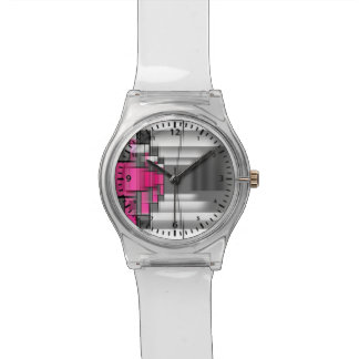 Arabic Numbers Pink Gray And White Geometrical Wristwatch