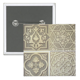 Arabic tile designs (colour litho) 2 inch square button