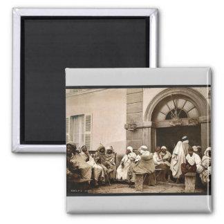 Arabs at a cafe, Algiers, Algeria vintage Photochr Magnet