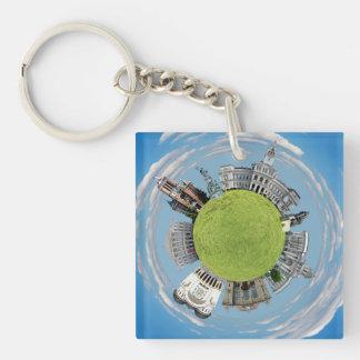Arad city romania tiny little planet landmarks arc Double-Sided square acrylic keychain