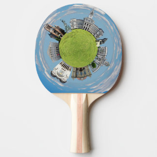 Arad city romania tiny little planet landmarks arc ping pong paddle