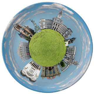 Arad city romania tiny little planet landmarks arc porcelain plate