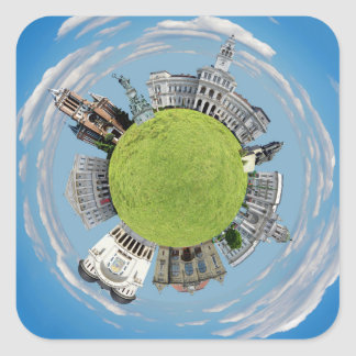 Arad city romania tiny little planet landmarks arc square sticker