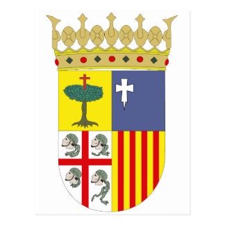 Aragón Coat of Arms Official Spain Symbol Heraldry Postcard