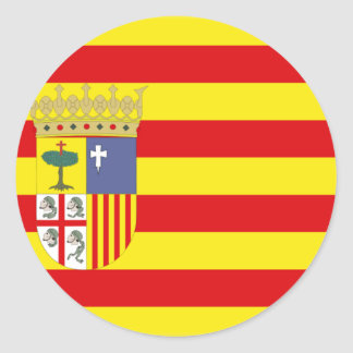 Aragon (Spain) Flag Classic Round Sticker
