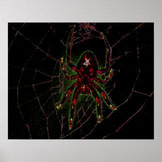 Araignée au néon rouge de Halloween Affiche