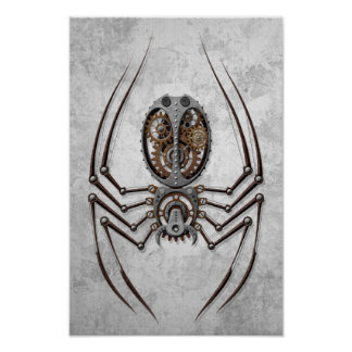 Araignée de Steampunk sur l acier rugueux Affiches