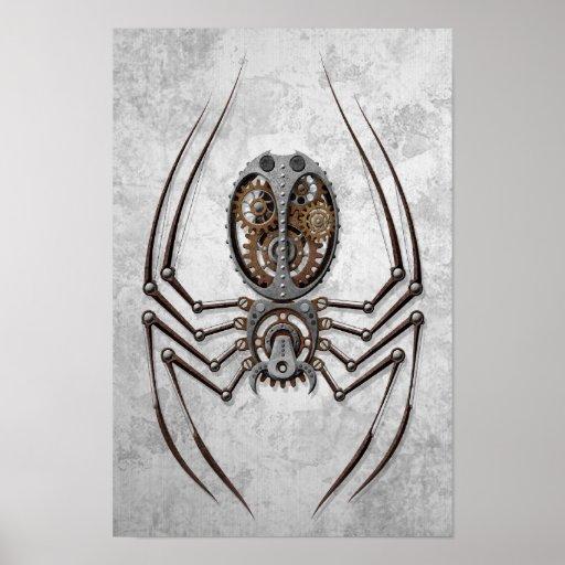 Araignée de Steampunk sur l'acier rugueux Affiches