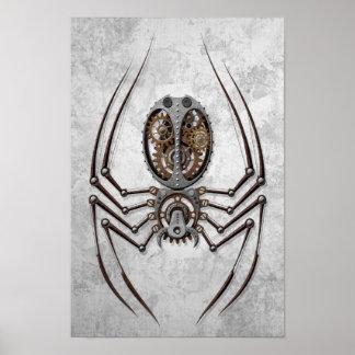Araignée de Steampunk sur l'acier rugueux Poster