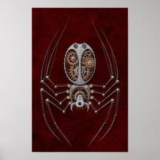 Araignée de Steampunk sur rouge-foncé