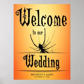 Araignée d'orange de signe de réception de mariage poster