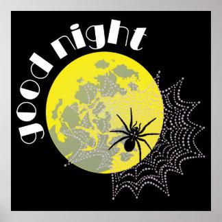 Araignée porte-croix dans le réseau avec la lune poster