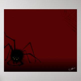Araignée sur l'affiche rouge