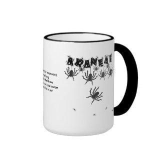 """ARANEAE"", Creepy Crawly Halloween Typography Ringer Mug"