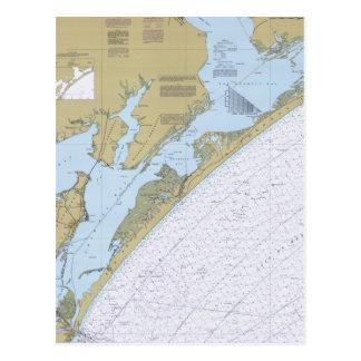 Aransas Pass Texas Nautical Chart Postcard
