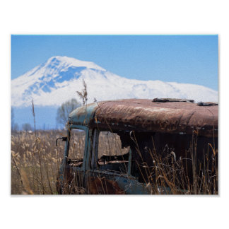 Ararat mountain and rusty bus poster