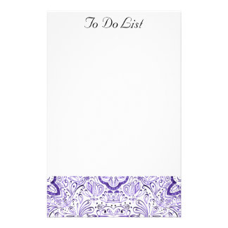 Arbella Purple Watercolour Pattern To Do Notepad Stationery