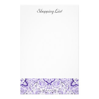 Arbella Purple Watercolour Shopping List Notepad Stationery