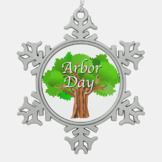 Arbor Day Tree Holiday Snowflake Pewter Christmas Ornament