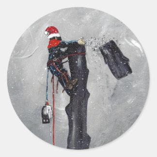 Arborist tree surgeon christmas card round sticker