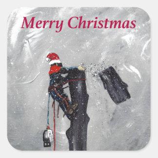Arborist tree surgeon christmas card square sticker