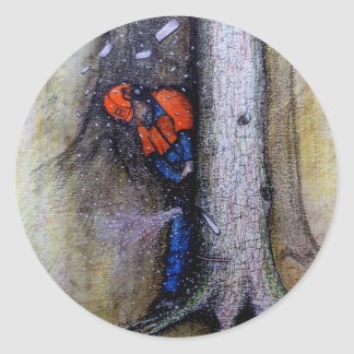 Arborist tree surgeon stihl husqvarna round sticker