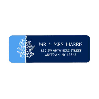 Arbre bleu de marine de barre Mitzvah de la vie Étiquette D'adresse Retour