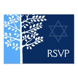 Arbre bleu de marine de barre Mitzvah RSVP de la Carton D'invitation 8,89 Cm X 12,70 Cm