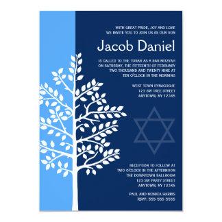 Arbre bleu de marine des invitations de Mitzvah de