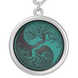 Arbre de la vie bleu et noir turquoise Yin Yang Pendentif