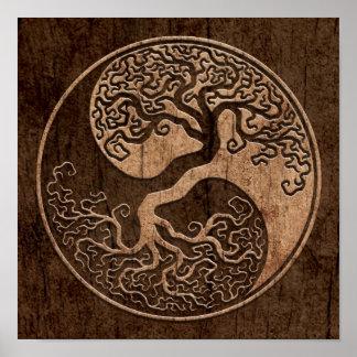 Arbre de la vie Yin Yang avec l effet en bois de g Poster