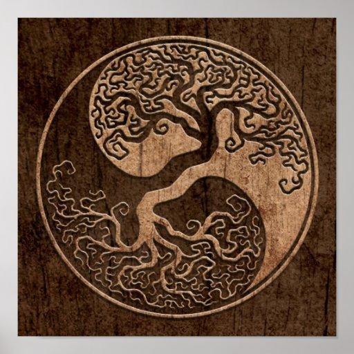 Arbre de la vie Yin Yang avec l'effet en bois de g Poster
