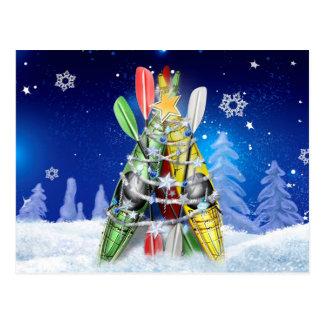 Arbre de Noël de kayak - carte postale