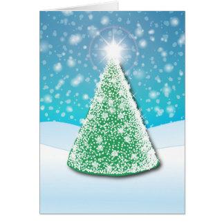 arbre de Noël de lumière blanche Carte
