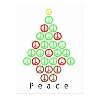 Arbre de Noël de signe de paix Cartes Postales