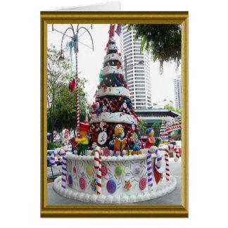 Arbre de Noël, décoré comme un gâteau Carte De Vœux