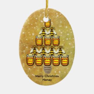 Arbre de Noël des pots de l'abeille et du miel - Ornement Ovale En Céramique