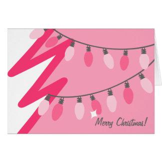 Arbre de Noël rose - lumières démodées Carte De Vœux