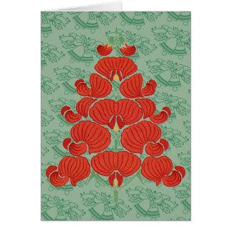 Arbre de Noël rouge de fleur de Deco Carte De Vœux