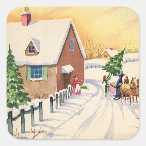 Arbre de Noël vintage sur une route d'hiver de Sticker Carré