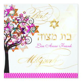 Arbre de PixDezines de la vie+Étoiles, bat mitzvah Carton D'invitation 13,33 Cm