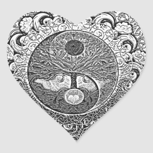 Arbre de Yin Yang de la vie en argent et chrome Autocollants En Cœur