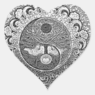 Arbre de Yin Yang de la vie en argent et chrome Sticker Cœur