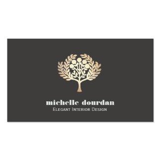 Arbre élégant de feuille d'or de Faux de design Carte De Visite Standard