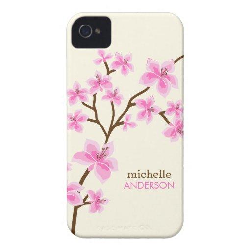 Arbre rose de fleurs de cerisier étui iPhone 4