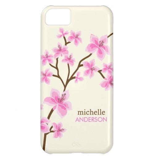Arbre rose de fleurs de cerisier coques pour iPhone 5C